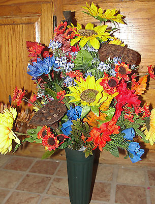 Masculine Silk Sunflowers Fall Urn Silk Flowers Thanksgiving Dad Outdoorsman
