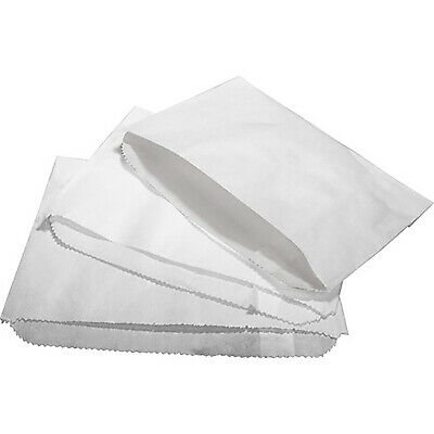 "100 x Greaseproof Paper Bags 6"" x 4"" Scotchban White Food Bag Chips"