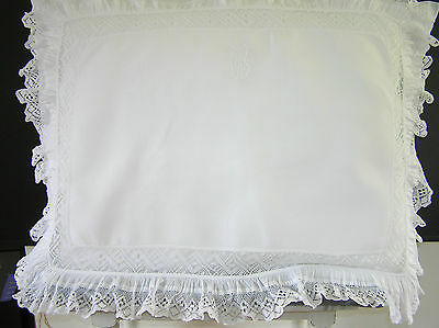Antique White Lace Monogram Pillowcase.