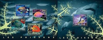 CA14507ab Central Africa 2014 Fishes MNH SET **