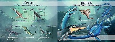 GB13210ab Guinea-BISSAU 2013 Water dinosaurs Dinosaurier MNH SET **