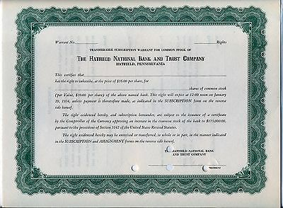 Hatfield National Bank & Trust Company Stock Certificate Pennsylvania