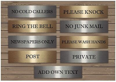 SMALL VITAL SIGNS Junk Mail Ring Bell Knock Silver or Gold Metal Door Plaques