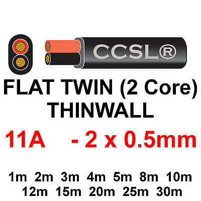 Twin 11A 12v THINWALL Automotive Cable Auto Wiring Loom Marine