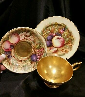 AYNSLEY HANDPAINTED vintage English china SIGNED ORCHARD TRIO GOLD! EXCELLENT!