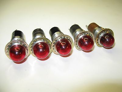 5pc Vintage DIALCO Panel Mount Indicator Lights Steampunk