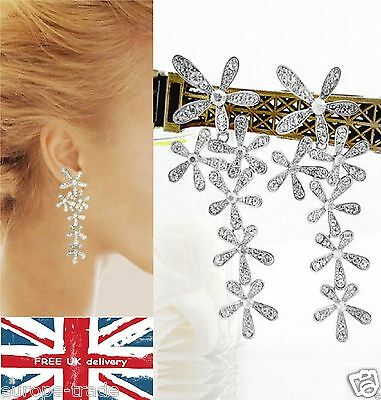 Long Silver Butterfly Diamante Crystal Tassel Drop Dangle Chandelier Earrings