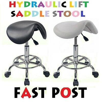 SADDLE Stool Hydraulic GAS Lift Bar Chair Salon Massage Spa Nail Black White
