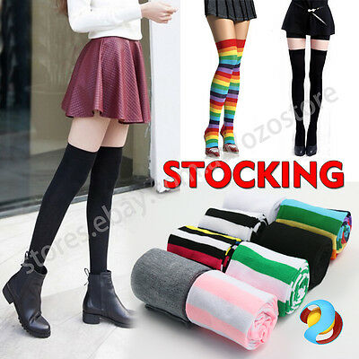 OVER THE KNEE SOCKS Plain Striped Thigh High Long Stripey Stocking Warm Girls
