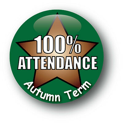 100% Attendnace Autumn Term School Pin Badge - Pack of 10