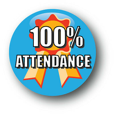 100% Attendance School Pin Badge - Pack of 10