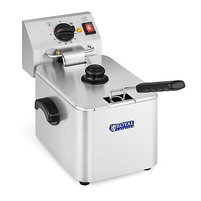 8 Litres Single Deep Fat Fryer Stainless Steel 2500 W 60 - 190 °C Commercial Use