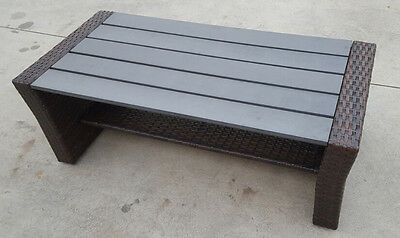 RATTAN OUTDOOR aluminium frame POLY WOOD WICKER COFFEE TABLE FURNITURE