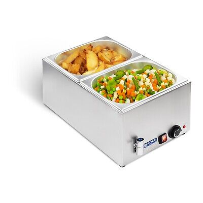 2 Pan Wet Well Bain Marie Food Warmer Holder With 1/2 Gn Containers + Lids 1200W
