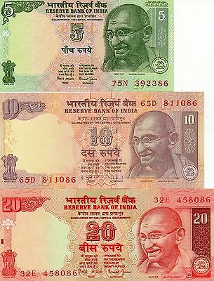 INDIA Asia set of 3 banknotes 5,10,20 Rupees UNC