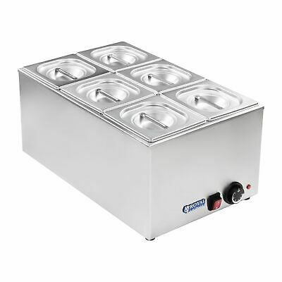 6 Pan Wet Well Bain Marie Food Warmer Holder 1/6 Gn Containers New 1200 W 230 V