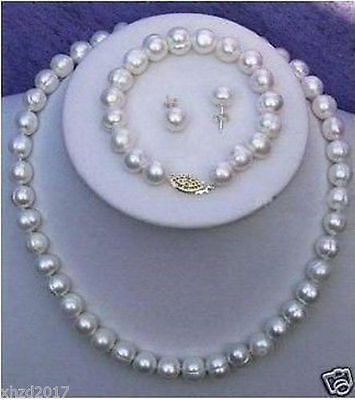 8-9MM Real Cultured Pearl Necklace Bracelet Earring Set