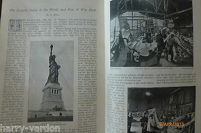 Statue of Liberty USA How it was Built Rare Old Victorian Antique 1899 Article