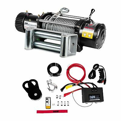 ROPE WINCH - 13494 lb ELECTRIC RECOVERY HOISTING INDUSTRAIL HOIST 12V PRO NEW