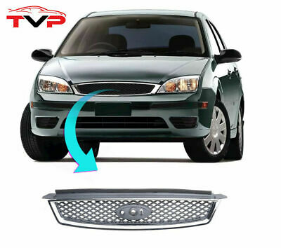 Ford Focus Mk2 2005-2008 Front Top Grille Black Chrome Zetec Sport Lx Tdci New