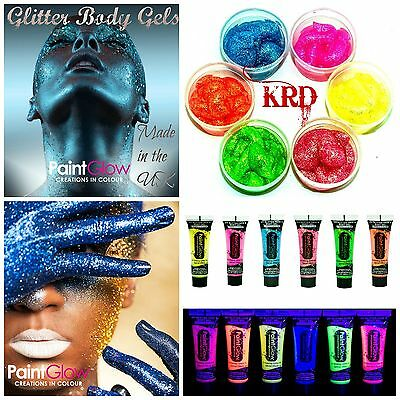 Genuine PaintGlow UV GLITTER BODY GEL PAINTS Rave Party Paint 10ML Shiny Glitter