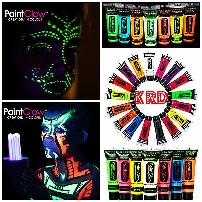 Genuine PaintGlow UV Face & Body Gel Paint Glow In Rave Party Paints UV Light UK