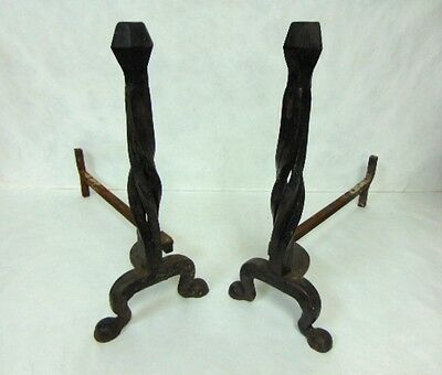 Pr Of Antique Primitive Twisted Wrought Iron Fireplace Andirons