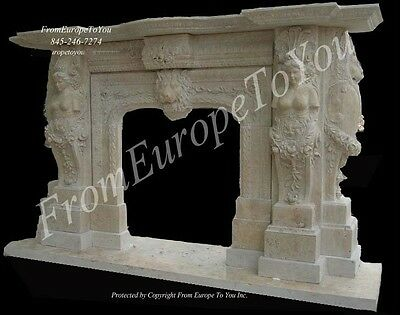 Massive Hand Carved Marble Fireplace Mantel Fgd054