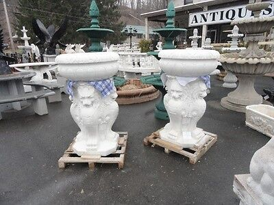 Pair Of Great Hand Carved Marble Lion Urns Urn36