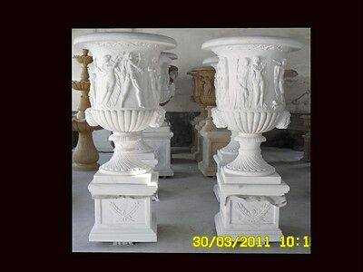 Monumental Hand Carved Marble Classical Urns Mu25