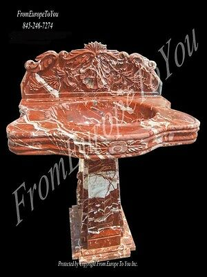 Beautiful Hand Carved Red Marble Pedestal Sink Snk63