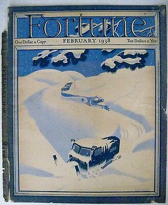 """Original Feb. 1934 """"Fortune"""" Magazine Cover Page w/ Snow Truck Clearing Snow*"""