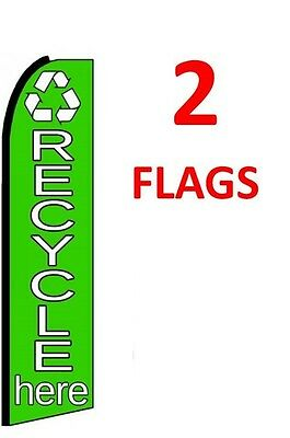 5 RECYCLE HERE 15/' SWOOPER #3 FEATHER FLAGS KIT with poles+spikes five