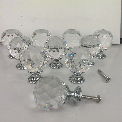 Zinc alloy Spherical crystal 30mm sparkle cabinet drawer door pulls knobs handle