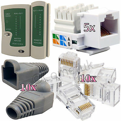 RJ45 Cat7 Cat6e Cat5e Cable Tester Keystone Jack Connectors Boots Network Kit UK