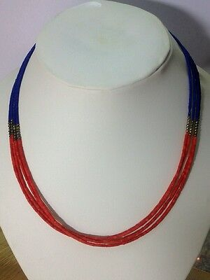 Afghan Lapis Lazuli with Coral Small Beads Necklace Silver Plated Handmade Gypsy