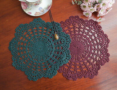 Chic Cotton Hand Crochet Lace Doily Doilies Mat Placemat Round 30CM Green/Maroon