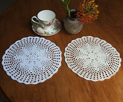 Pure Cotton Yarn Hand Crochet Lace Doily Placemat Round 25CM White/Beige FP02
