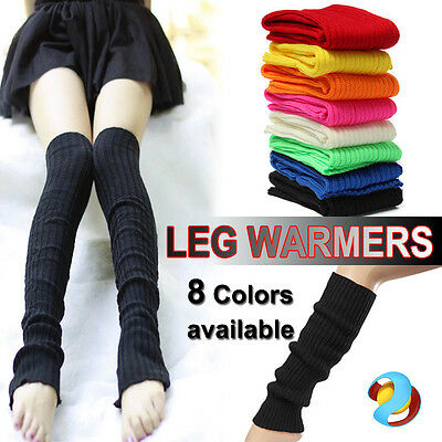 LEG WARMERS Stocking Legging High Knitted Womens Neon Party Knit Ankle Socks AU
