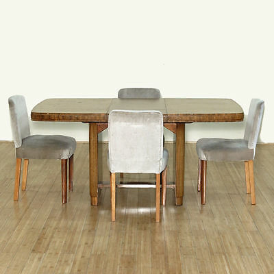 5Pc c1930 Vintage Art Deco Walnut 5.5Ft Table w/ 4 Side Chairs Dining Set