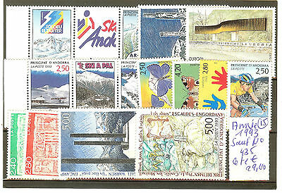Andorre Annee Complete 1993 ** Timbres Sauf 435 Neufs Qualite Luxe