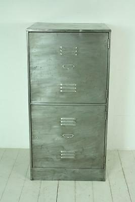 VINTAGE INDUSTRIAL 2 COMPARTMENT SCHOOL LOCKER CABINET #1412a