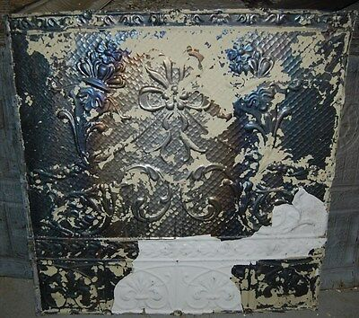Antique Floral Design Tin Ceiling Tile / Architectural Salvage/Upcycle