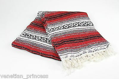 "Authentic Red Mexican Falsa Blanket Hand Woven Yoga Mat Blanket 74"" x 50"" NEW"