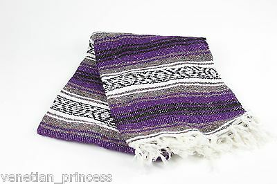"""Authentic Purple Mexican Falsa Blanket Hand Woven Yoga Mat Blanket 74"""" x 50"""" NEW"""