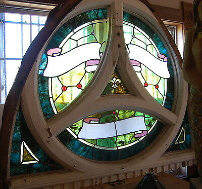 Antique 1900 Church Stained Glass Window in Frame,Arch Salvage 2 available