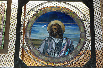 Wonderful Antique Stained Glass Window Of Jesus , Religious Arch  Salvage