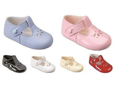 Baby Boys & Girls Pram Shoes,half Punch T Bar,christening/baptism/wedding/party