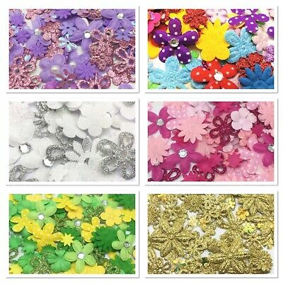 100 Mini Flowers Daisy Cardmaking Embellishments Topper Craft Scrapbooking Paper