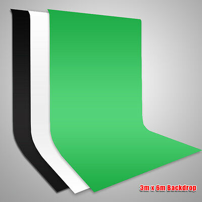 3x6M Pro Photography Studio Screen Black White Green Muslin Backdrop Background